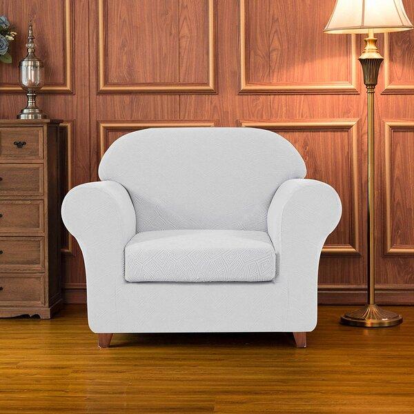 Geometric Printed Stretch Box Cushion Armchair Slipcover By Winston Porter