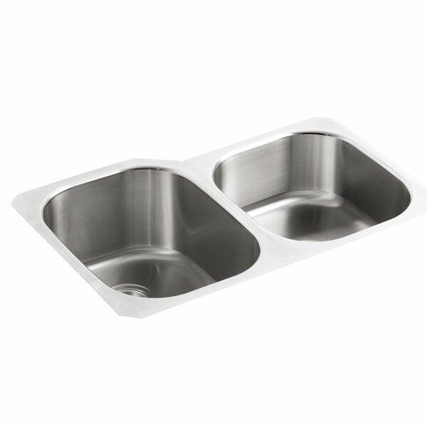 Undertone 31 L x 20-1/8 W x 9-1/2 Under-Mount Large/Medium Double-Bowl Kitchen Sink by Kohler