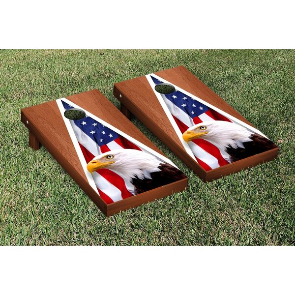 American Eagle USA Rosewood Stained Triangle No Mountain Version Cornhole Game Set by Victory Tailgate