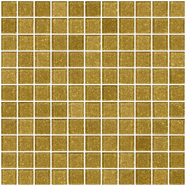 1 x 1 Glass Mosaic Tile in Light Gold by Susan Jablon