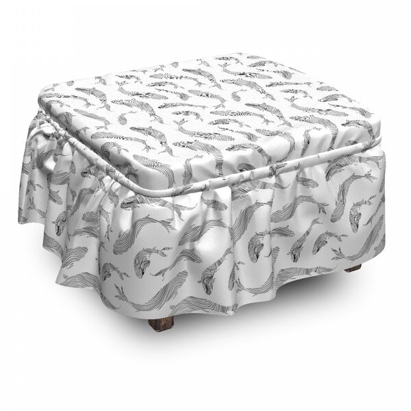 Fish Sketch Under 2 Piece Box Cushion Ottoman Slipcover Set By East Urban Home