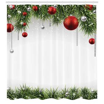 Country Snowmen Decorated Christmas Trees Fabric Shower Curtain