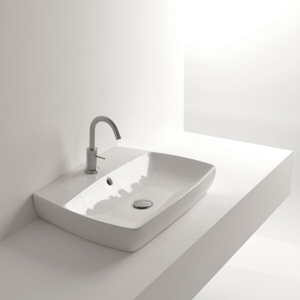 H10 Ceramic 24 Wall Mount Bathroom Sink with Overflow by WS Bath Collections