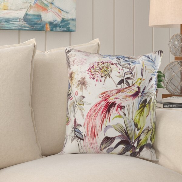Claude Tropical Print Linen Throw Pillow by Bay Isle Home