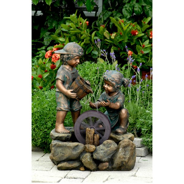 Resin/Fiberglass  Two Kids Fountain by Jeco Inc.