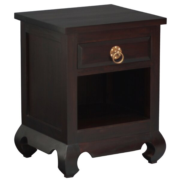 Joni Fine Handcrafted Solid Mahogany Wood Nightstand by Bloomsbury Market Bloomsbury Market