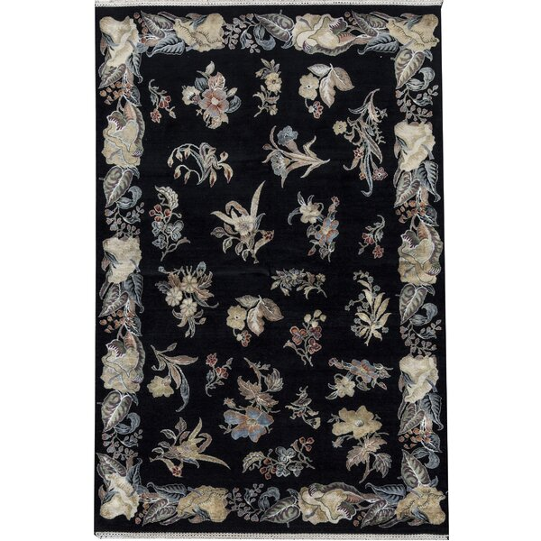 Dharma Floral Hand-Knotted Black Area Rug