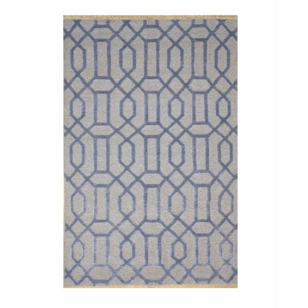 Catchings Transitional Geometric Links Hand-Knotted Blue/Gray Area Rug by Longshore Tides