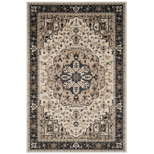 Fuhrman Cream/Navy Area Rug by Charlton Home