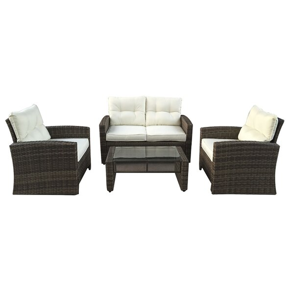 Polakova 4 Piece Rattan Sofa Set with Cushions by Red Barrel Studio