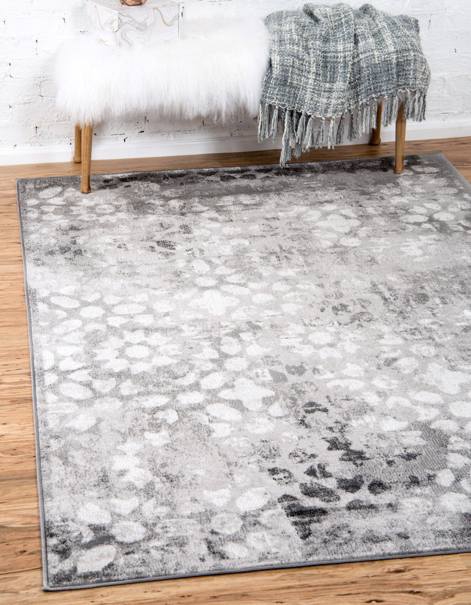 Modern Rug Shabby Chic Carpet Abstract Marble Look Rugs Living Room Blue Grey