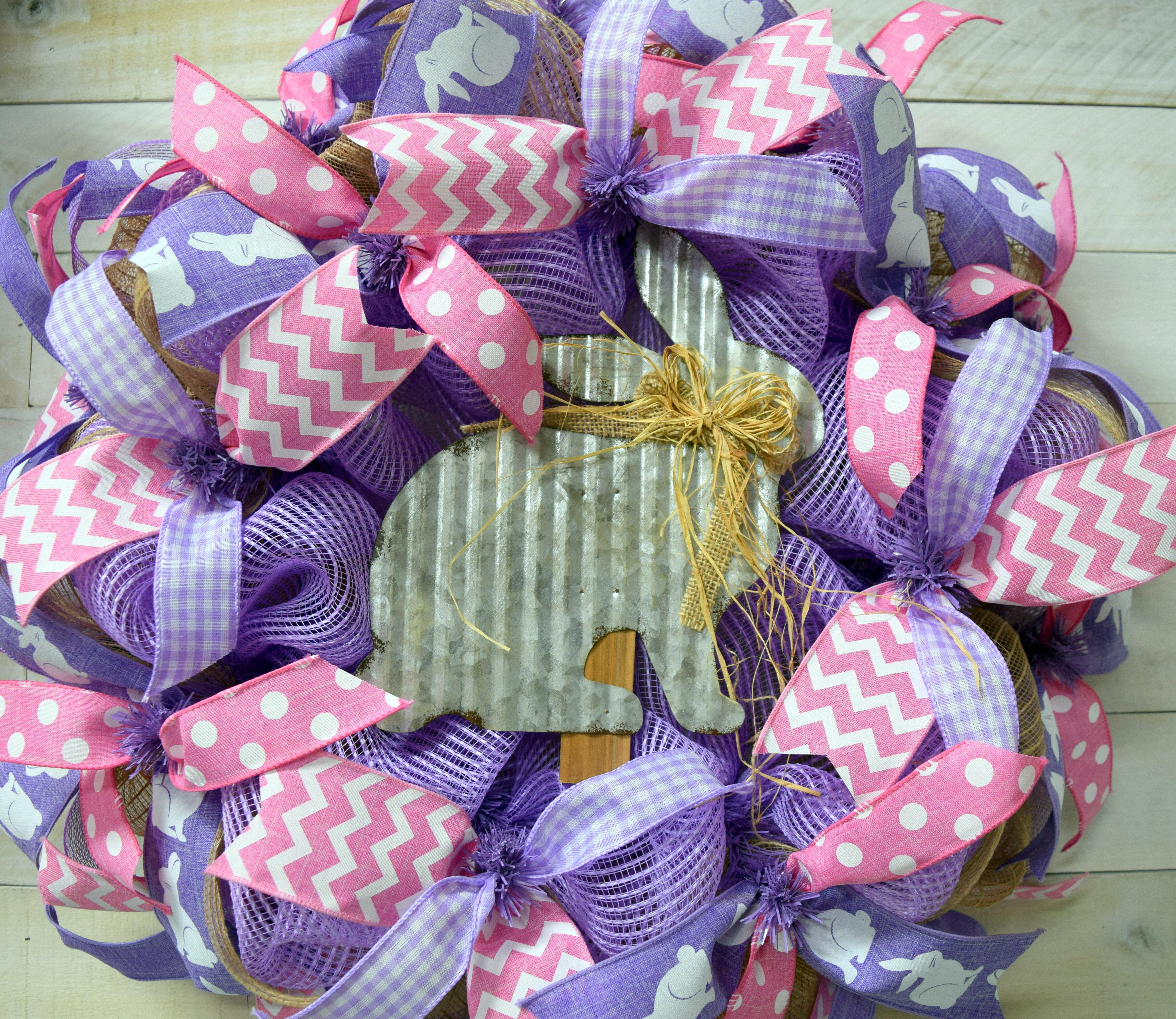 The Holiday Aisle Easter Bunny 24 Deco Mesh Wreath Wayfair