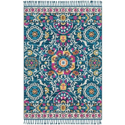 Denya Boho Suzani Tassel Teal/Pink Area Rug. How to decorate a BOHO living room. Boho decor accessories.