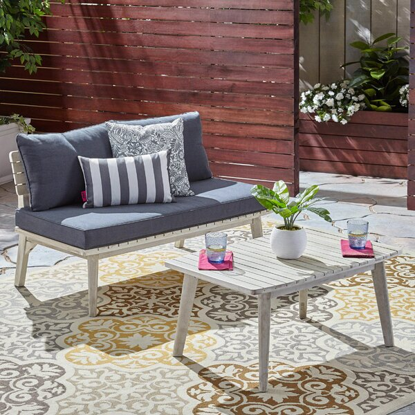 Lafrance 2 Piece Teak Seating Group with Cushions by George Oliver
