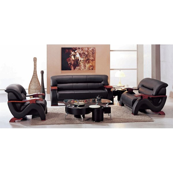 hokku designs chrysocolla 3 piece leather living room set