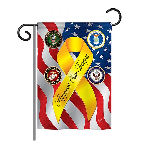 Support our Troops Freedom 2-Sided Vertical Flag by Breeze Decor