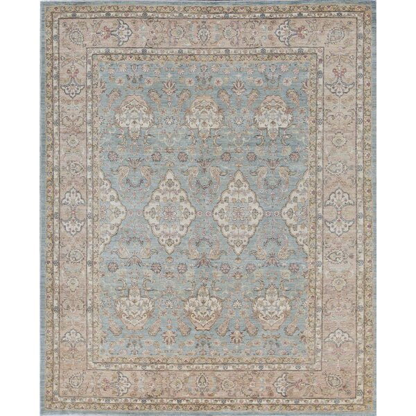 Ziegler Oriental Hand-Knotted Wool Light Blue/Gold Area Rug