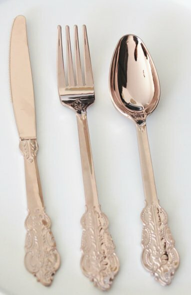 Rose Gold Copper Plastic Disposable Forks (Set of 10) by Designs By Embellish
