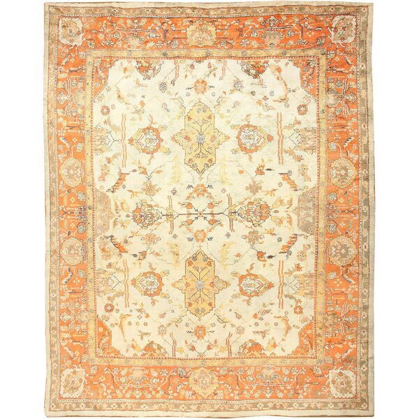 One-of-a-Kind Turkish Hand-Knotted Orange 12' x 15' Wool Area Rug