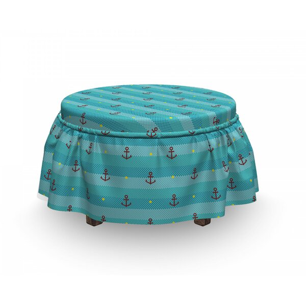 Anchor Nautical Dotted 2 Piece Box Cushion Ottoman Slipcover Set By East Urban Home
