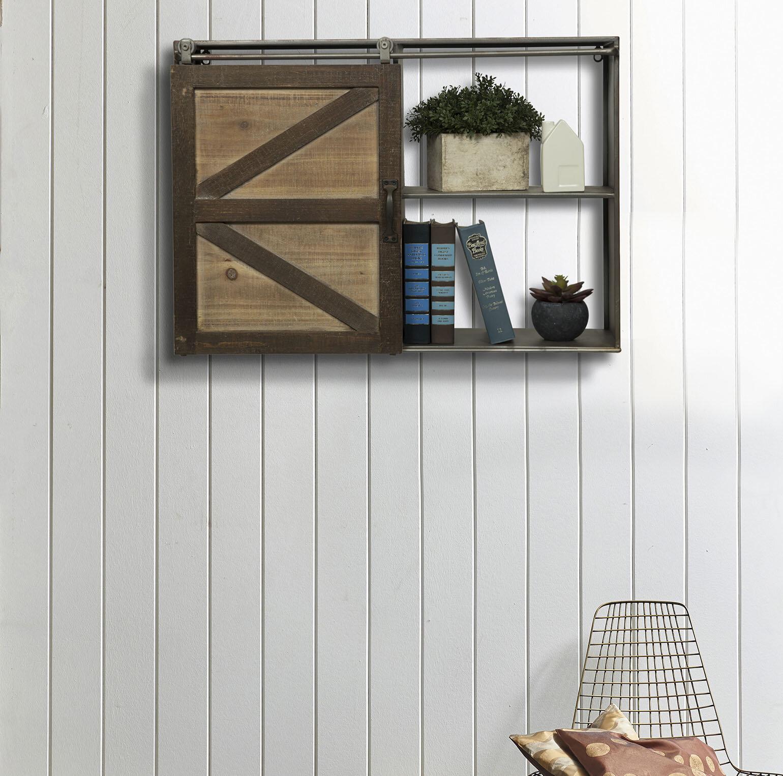 Gracie Oaks Leipzig Farmhouse Sliding Barn Door Storage Cabinet Wall Shelf Reviews Wayfair Ca
