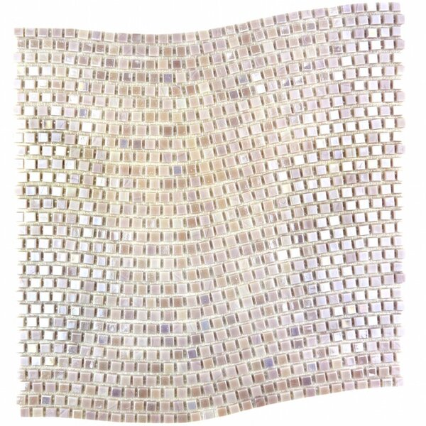 Galaxy Wavy 0.31 x 0.31 Glass Mosaic Tile in Cream by Abolos