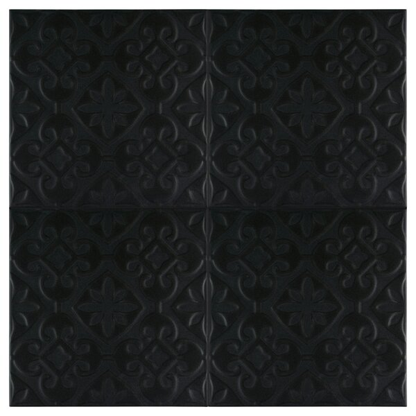 Tres Valverde 7.75 x 7.75 Ceramic Field Tile in Black by EliteTile