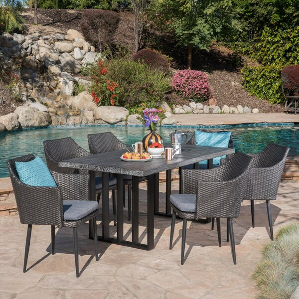 Zehner Outdoor 7 Piece Dining Set with Cushions by Rosecliff Heights