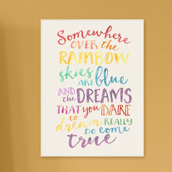 Kleckner Somewhere Over the Rainbow Watercolors Canvas Wall Art by Zoomie Kids