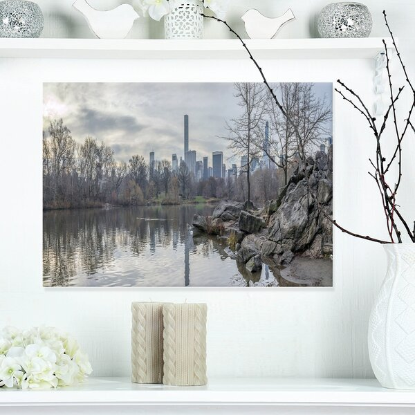 Black and White Central Park NYC Photographic Print on Wrapped Canvas by Design Art