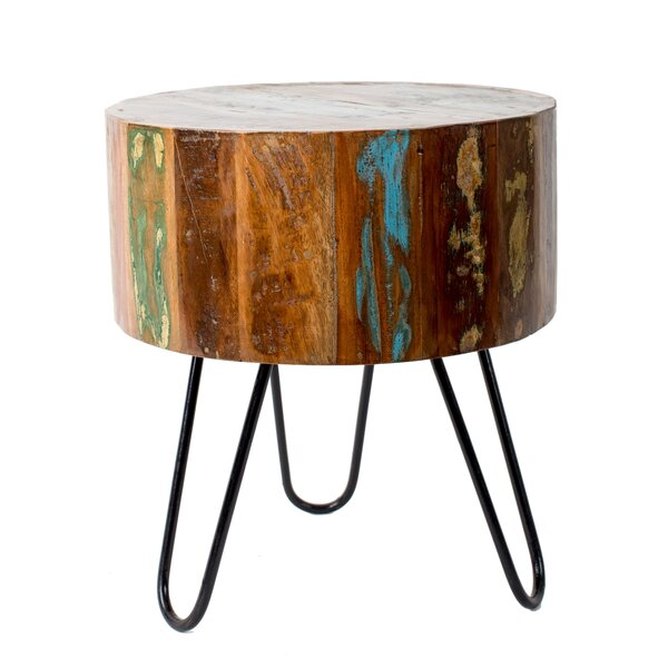 Spenser Round Reclaimed Accent Stool by Bungalow Rose