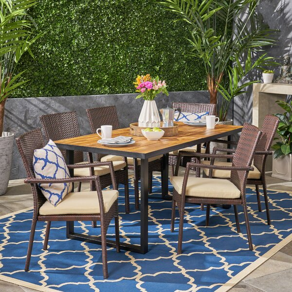 Justice Teak 7 Piece Dining Set by Bay Isle Home