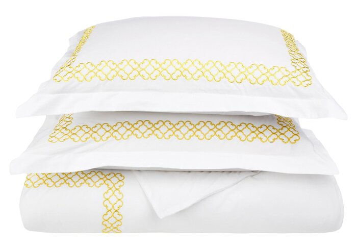 Clayton 3 Piece Embroidered Reversible Duvet Cover Set
