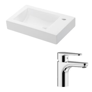Compare & Buy Minimal Ceramic Ceramic Rectangular Vessel Bathroom Sink with Faucet ByWS Bath Collections