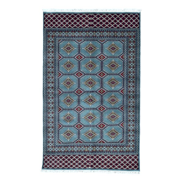 One-of-a-Kind Ewan Oriental Hand-Woven Wool Blue Area Rug by Isabelline