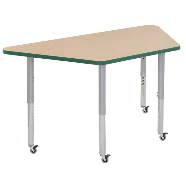 Trapezoid Maple Top Thermo-Fused Adjustable 30 x 60 Trapezoidal Activity Table by ECR4kids