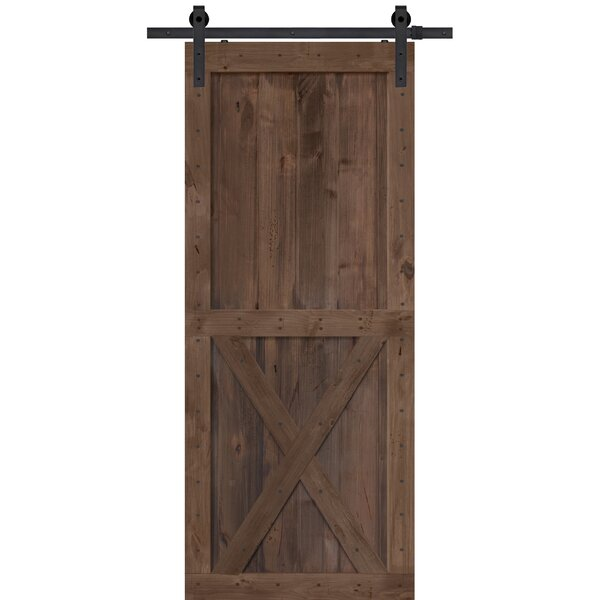 Single X Solid Manufactured Wood Panelled Alder Interior Barn Door by Barndoorz