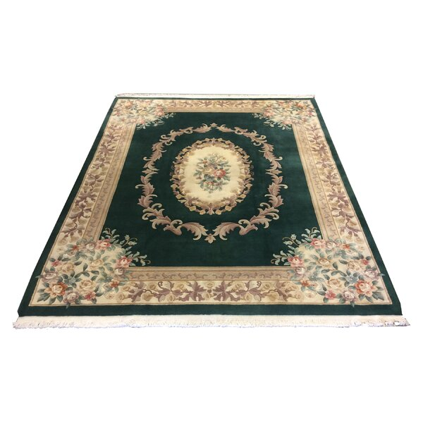 One-of-a-Kind Lykins Hand-Knotted Wool Green/Beige Area Rug by Astoria Grand