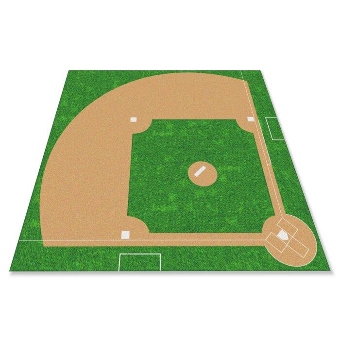 Pine Lake Baseball Field Green Brown Area Rug