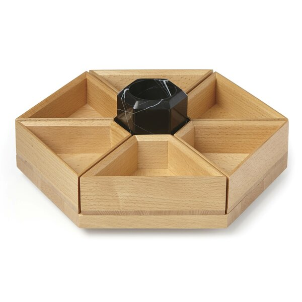Platform Wood and Marble Lazy Susan by Lenox