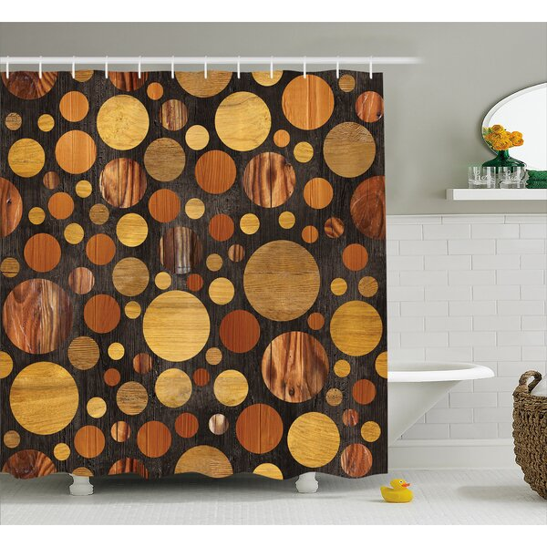 Wooden Brown Abstract Circles Shower Curtain by East Urban Home