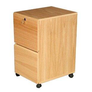 Modular Real Oak Wood Veneer 2 Drawer Mobile File Cabinet