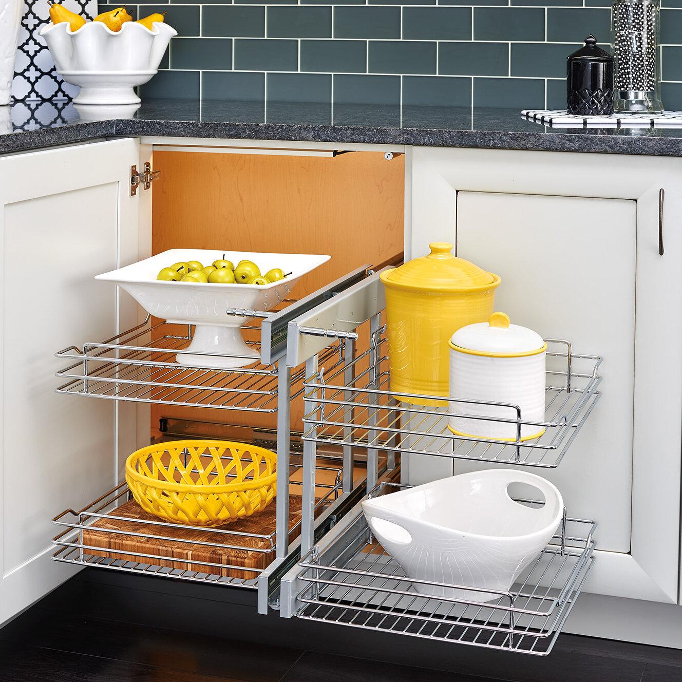 Rev A Shelf Blind Corner Cabinet Pull Out Chrome 2 Tier Basket Organizer U0026  Reviews | Wayfair