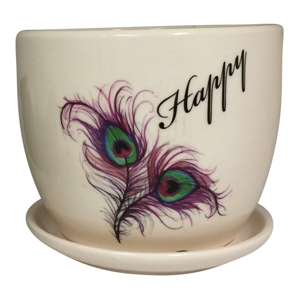 Richelle Feather and Happy Design Ceramic Mini Pot Planter by Bungalow Rose
