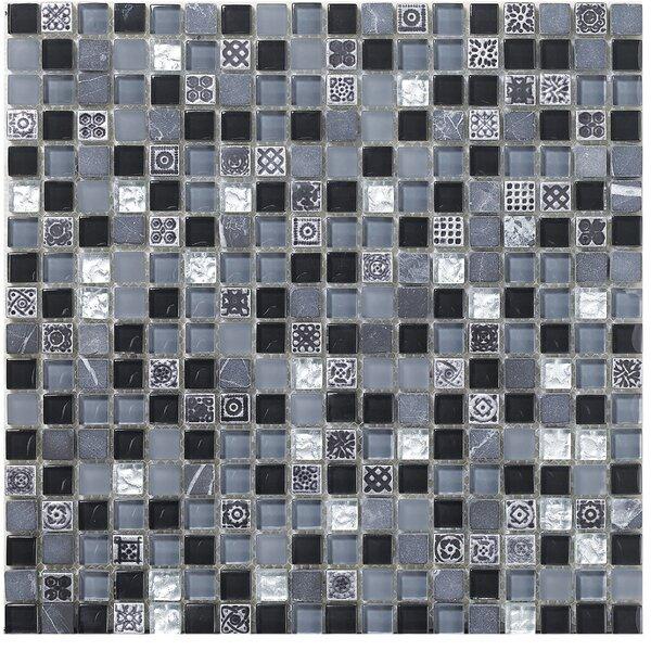Treasure 12 x 12 Glass Gem Mosaic Tile in Black Cloud by Mohawk Flooring