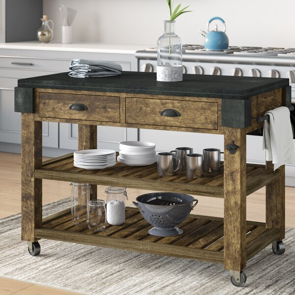 Shaan Kitchen Island with Granite by 17 Stories