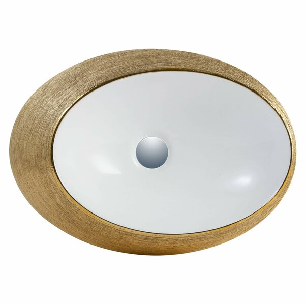 Vitreous China Oval Vessel Bathroom Sink with Overflow
