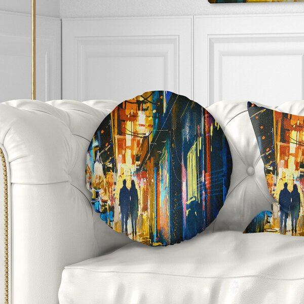 Cityscape Couple Walking in an Alley Throw Pillow by East Urban Home
