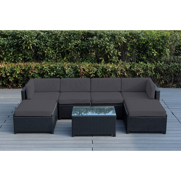 Brough 7 Piece Rattan Sectional Seating Group with Cushions by Longshore Tides Longshore Tides