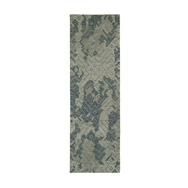 Stockman Hand-Tufted Wool Graphite/Blue Area Rug by Wrought Studio